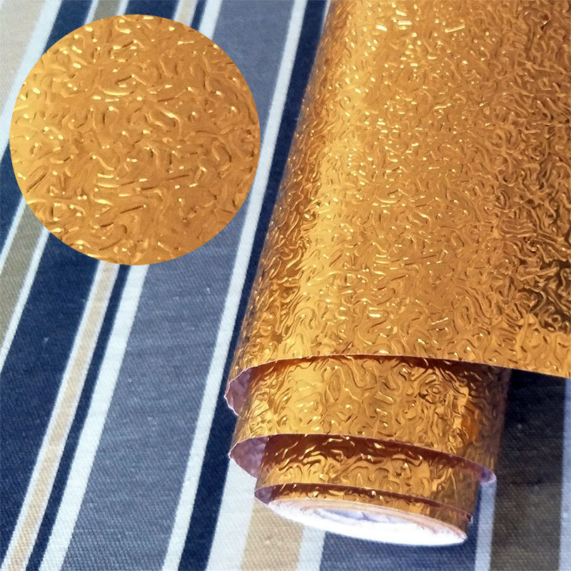 1 Pcs Aluminum Foil Gold Wall Sticker Adhesive Waterproof Oil Proof Dust Proof Home Kitchen