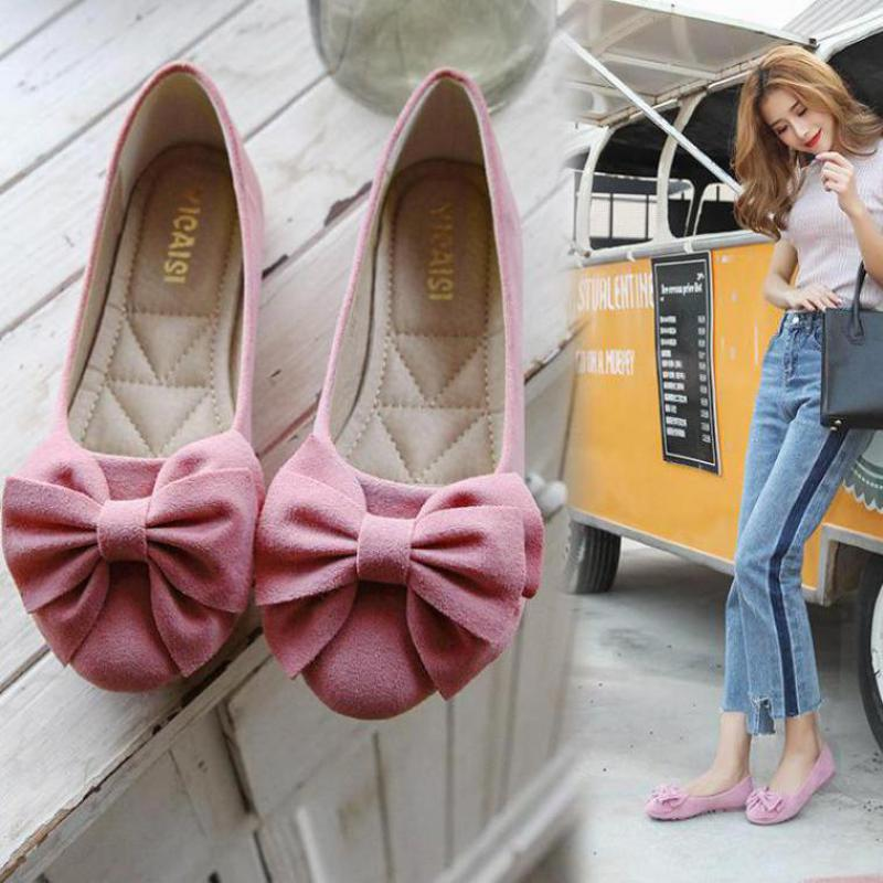 Plus Size 43 Women Flats Shoes Ballerina Shoe Loafers Lady Slip On Moccasins Sweet Bow Round Toe Shallow Single Flat Footwear