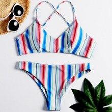 2019 Women Two-piece Suit Monokini Stripe Printing Bikini Briefs Sexy Swimming Suit Swimwear Monokini  Wwimwear yfashion women fashion stripes printing dress briefs swimwear