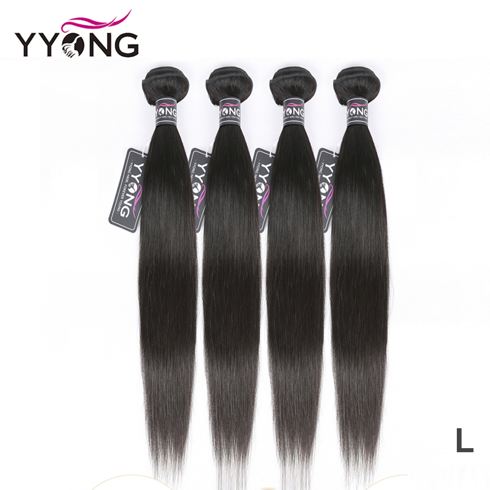Yyong Peruvian Straight Hair Bundles 100% Human Hair Weaves 4 Bundles Natural Color Remy Hair Extension 8-26