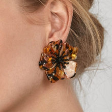 New style acetate with alloy flower earrings fashion style exaggerated personality earrings for charming trendy girls gifts