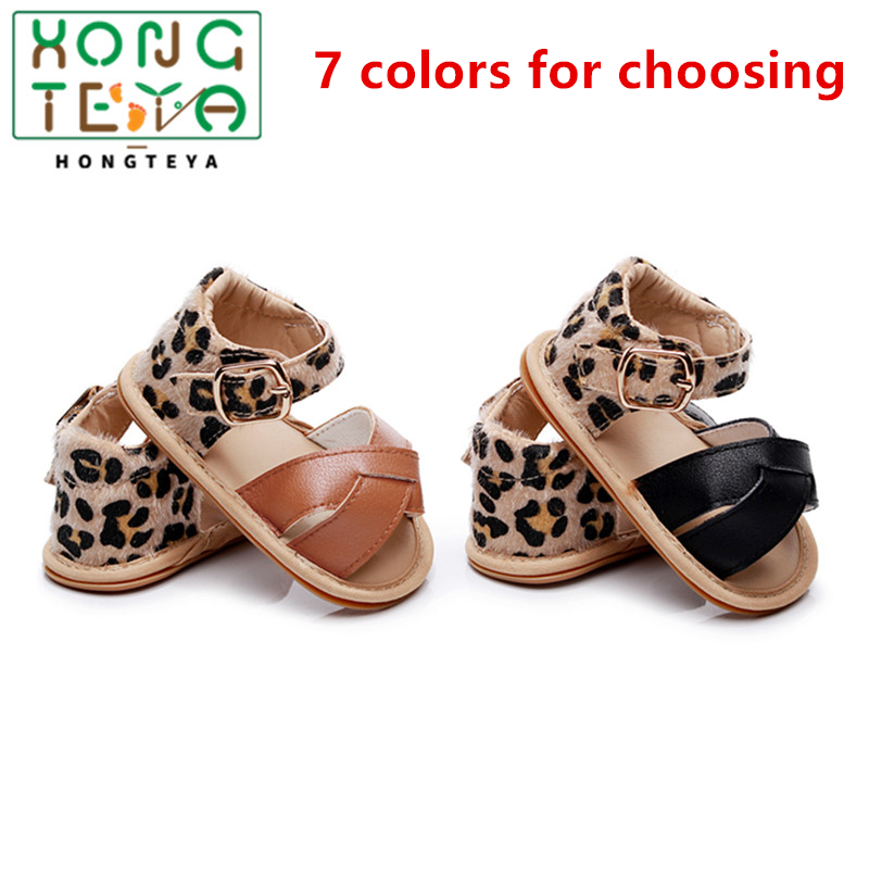 2020 Newborn Infant Baby Boys Girls Princess Shoes Leopard Toddler Summer Sandals PU Leather Non-slip Rubber Shoes Size 0-24 M