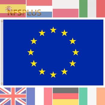 Flagi europejskie ue europa 90x150cm poliester francja niemcy irlandia szwajcaria wielka brytania hiszpania polska słowacja flaga narodowa i transparent tanie i dobre opinie NFS PLUS CN (pochodzenie) Latanie Other F104B PRINTED approx 90x150 (cm) approx 3x5 Ft 2 Brass Grommets 1 piece polybag