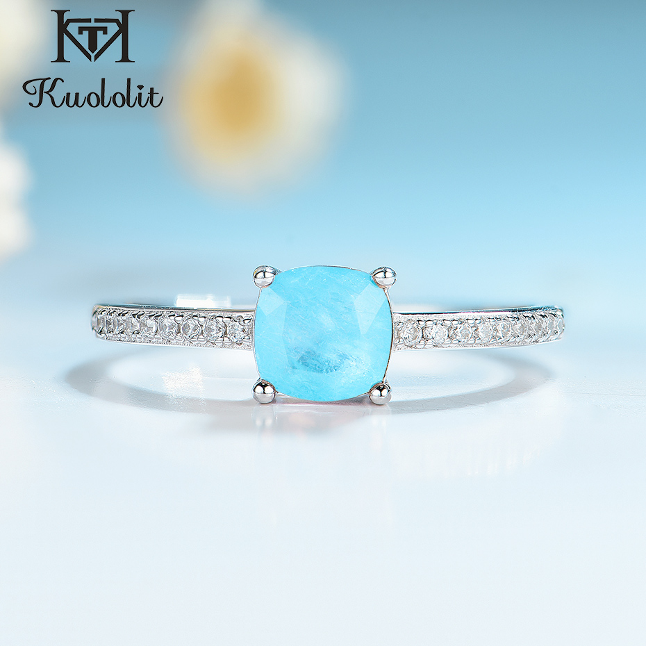 Kuololit Paraiba Tourmaline Gemstone Rings for Women Girls Solid 925 Sterling Silver Emerald Tanzanite Wedding Band Fine Jewelry(China)