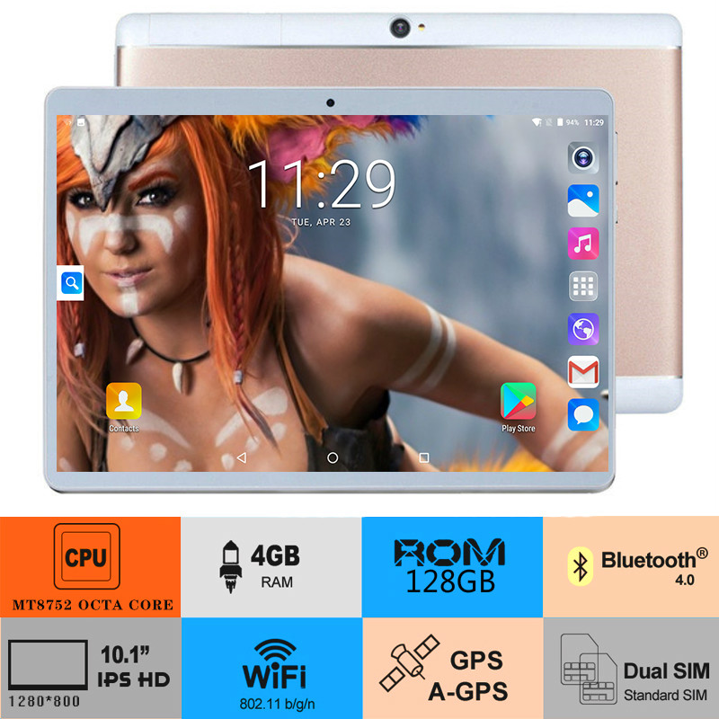 2019 New Android 8.0 OS 10 Inch Tablet Octa Core 3G 4G FDD LTE 4GB RAM 128GB ROM 1280x800 Dual SIM Cards Tablet Kids Tablet