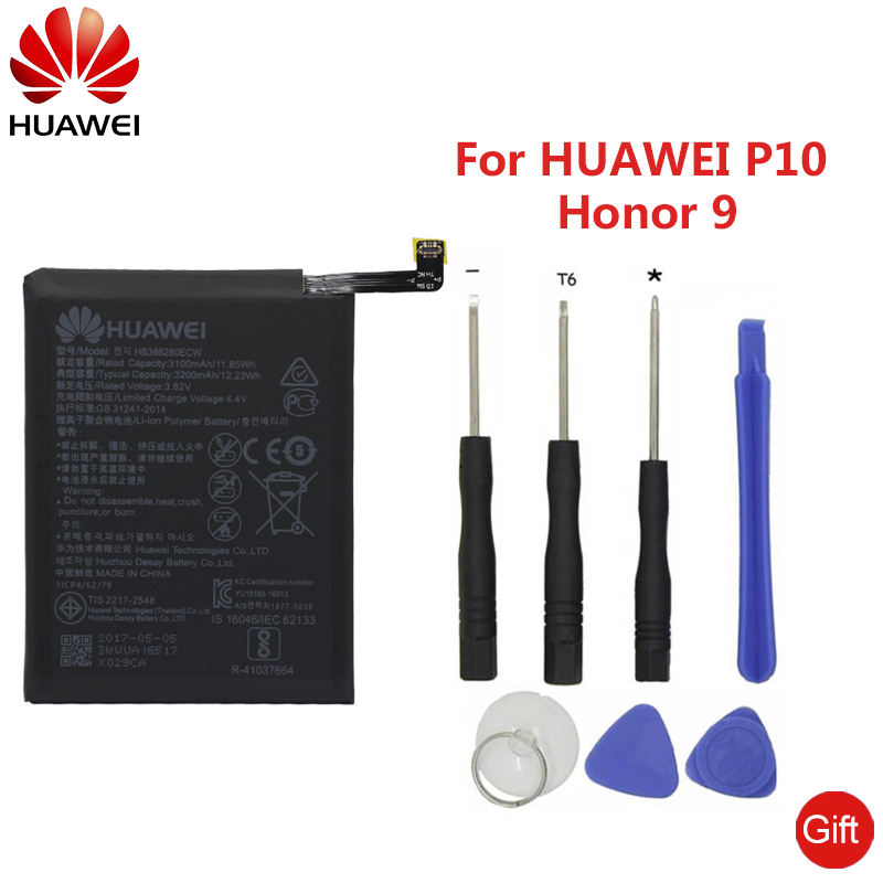 HuaWei Phone Battery HB386280ECW For Huawei Honor 9 P10 Ascend P10 Replacement  Phone Batteries 3200mAh