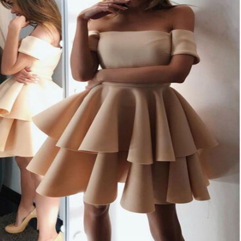 Champagne Ruched Tiered A-line Cocktail Dresses Short Sleeve Knee-Length Satin Party Gown коктейльное платье