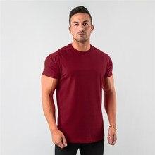 Nowe stylowe proste bluzki Fitness męskie T Shirt z krótkim rękawem mięśni biegaczy koszulka dla kulturystów męskie ubrania gimnastyczne Slim Fit Tee Shirt