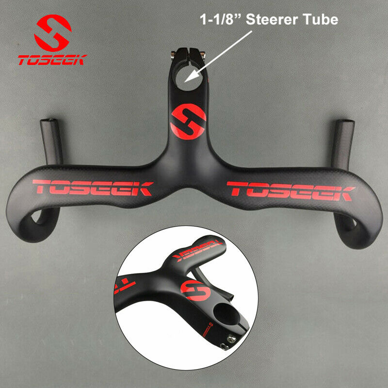 TOSEEK Carbon Handlebar Road Bicycle Integrated Handlebar Stem Drop Bike Bar Super Light 400/420/440mm Cycling Parts Road Bike