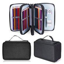 Curtain Color-Pencil-Bag Art-Storage Sketch-Brush Porous Square 72-Hole Solid-Color