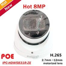 Dahua-caméra de surveillance IP POE 8mp IPC-HDW5831R-ZE/2.7/12mm, dispositif de sécurité, avec lentille motorisée et microphone intégré, led Max. Infrarouge, codec H.265, longueur 50m