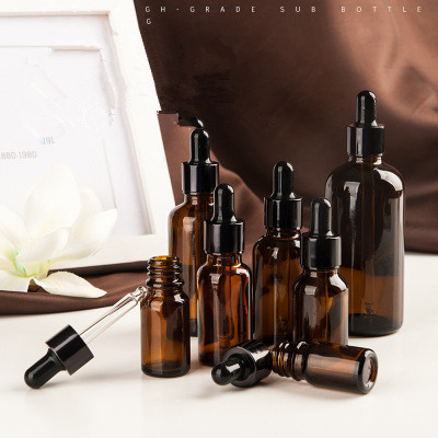 10pcs/lot 5ml 10ml 15ml 20ml 30ml 50ml 100ml Amber Glass Bottle With Dropper Matt Black Glass Dropper Bottle