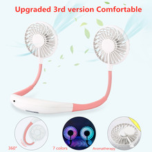 Neckband Cooler Desk Fans USB Charge & Baterai Isi Ulang 2000 M Ah Portable Conditioner 7 Warna Dapat Disesuaikan Air Cooler Kipas Angin Mini(China)
