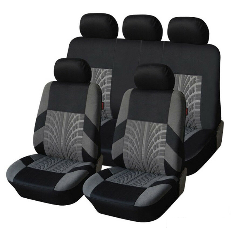 Car-Seat-Covers-Set Seats Styling Four-Seasons Universal Fit with Tire-Track-Detail  title=