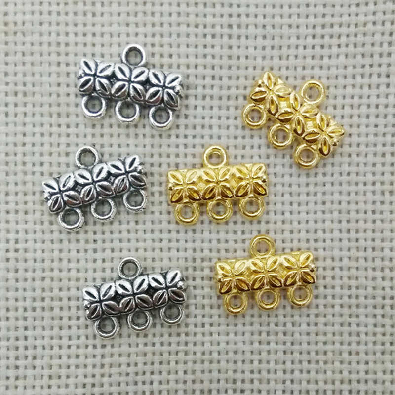 Kalung Liontin Konektor Jaminan Temuan Tibet Perak Gantungan Tautan Manik-manik dengan Lingkaran Perhiasan Membuat Tali Kulit
