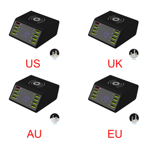 Image 2 - 8 USB Ports LCD Display Desktop Travel Phone Charger Quick Charging Multifunctional Portable Mobile Station Docks Power Adapter