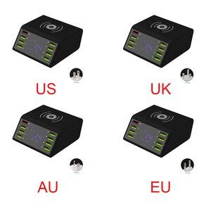 Image 2 - 8 portów USB wyświetlacz LCD pulpit ładowarka podróżna szybkie ładowanie wielofunkcyjna przenośna stacja mobilna doki zasilacz