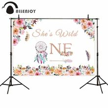 Allenjoy Wild One Photocall Flowers Leaves Dream Catcher Feather Arrow Baby Girl Event Supplies Birthday Party Backdrop Cloth(China)