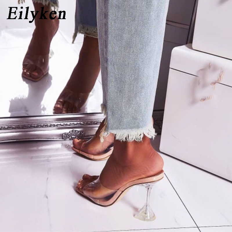 Eilyken Orange Silver PVC Jelly Slippers Open Toe High Heels Women Transparent Perspex Slippers Shoes Heel Clear Sandals Size 42