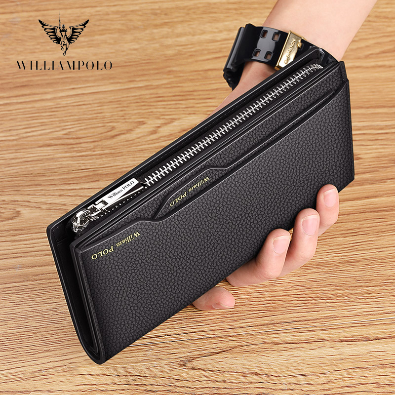 WILLIAMPOLO Long Wallet Men Clutch Bag With Strap Leather Men's Phone Credit Card Luxury Removable Card Holder Walet PL191469