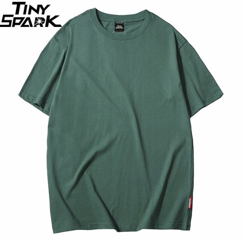 Harajuku Plain T Shirt 2019 Summer Hip Hop Tshirt 100 Cotton Men Green T-Shirts Streetwear Casual Basic Tops Tees Short Sleeve
