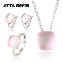 Conjunto de joyería de plata de ley y cuarzo rosa Natural, cabujón cortado, 20,6 quilates, cristal Rosa Natural, estilo romántico