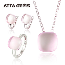 Natural rosa quartzo prata esterlina conjuntos de jóias cabochon corte 20.6 quilates rosa natural cristal qualidade superior pedra estilo romântico