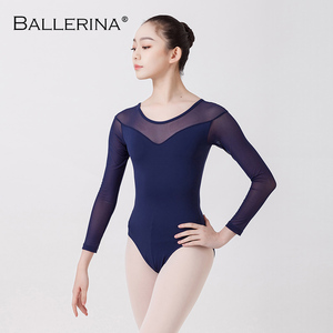 Image 3 - Balet taniec praktyka trykot dla kobiet balet adulto kostium czarna siatka z długim rękawem gimnastyka trykot baleriny 5876