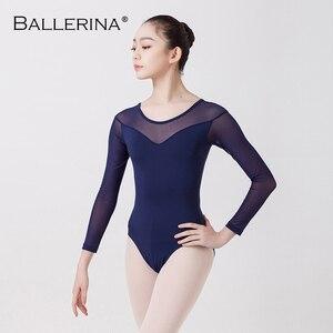 Image 3 - Pratica di ballo di balletto body per le donne di balletto adulto Costume maglia nera a maniche lunghe ginnastica Body Ballerina 5876