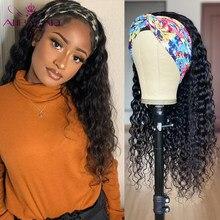 30 32 34 36 Polegada onda de água bandana peruca cabelo humano glueless brasileiro remy cabelo encaracolado kinky peruca para preto mulher 150%