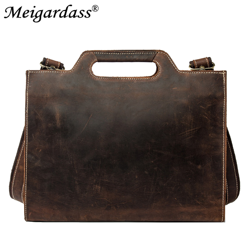 Vintage Crazy Horse Genuine Leather Business Briefcase Men Office Handbags IPad Messenger Bags For Male 13 Inch Laptop Purse