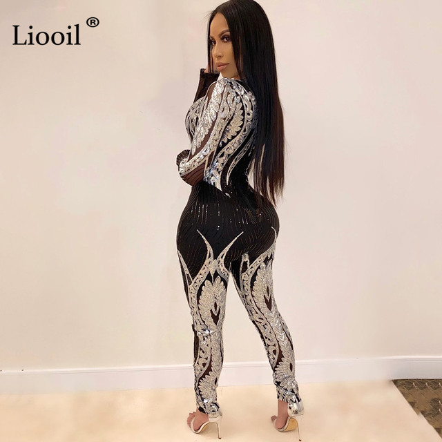 Liooil-body de talla grande para mujer, Sexy, dorado y plateado, con lentejuelas, de malla, transparente, para fiesta y Club, monos ajustados, pantalones largos 4
