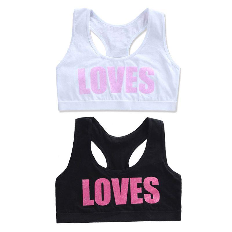 Girls Cotton Sport Training Bra Letter Print Solid Color Underwear Bralette