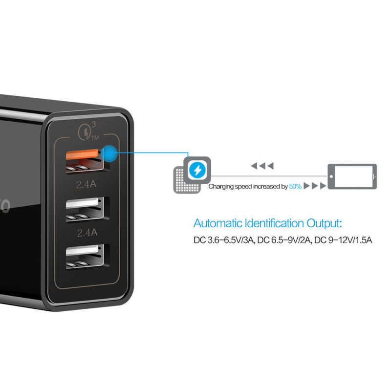 Cargador rápido 3 USB, carga 30W FC3.0 2,4 A QC, carga rápida, cargador de teléfono móvil para IPhone, Samsung, Xiaomi, Huawei y Lg