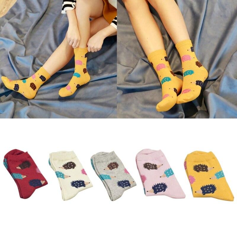 Women Girls Winter Warm Cotton Long Socks Cartoon Hedgehog Pattern Lovely Casual U90E