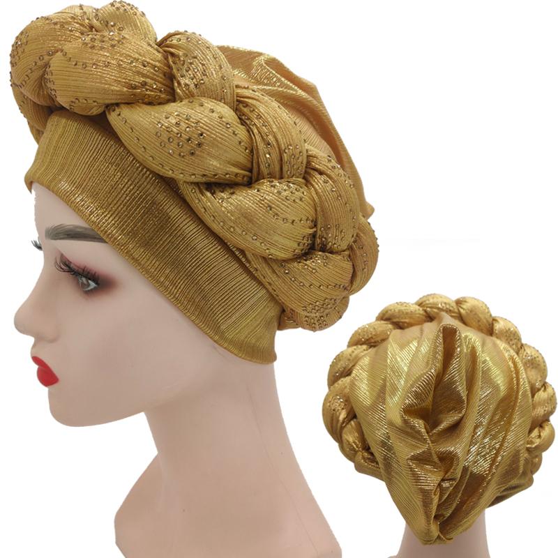 2021 NEW Rhinestone Turban Africain Femme Glitter Elastic Muslim Hijab Bonnet Women Head Wraps Braids Turbante Mujer Auto Gele