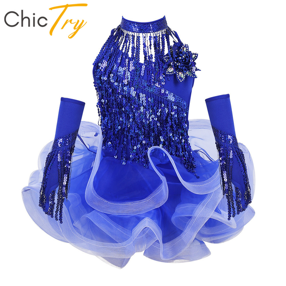 ChicTry Kids Girls Sequins Tassels Stage Performance Costume Samba Salsa Latin Dance Dress With Shorts Choker Arm Sleeves Set