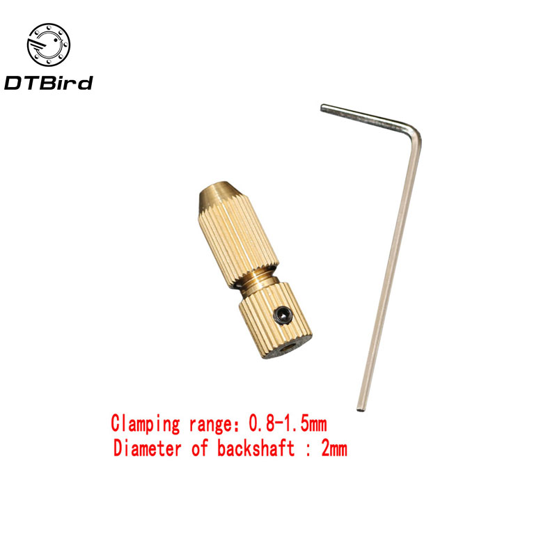 2.0mm Brass Electric Motor Shaft Clamp Fixture Chuck Mini Small For 0.8mm-1.5mm Drill Micro Drill Bit Clamp Fixture Chuck