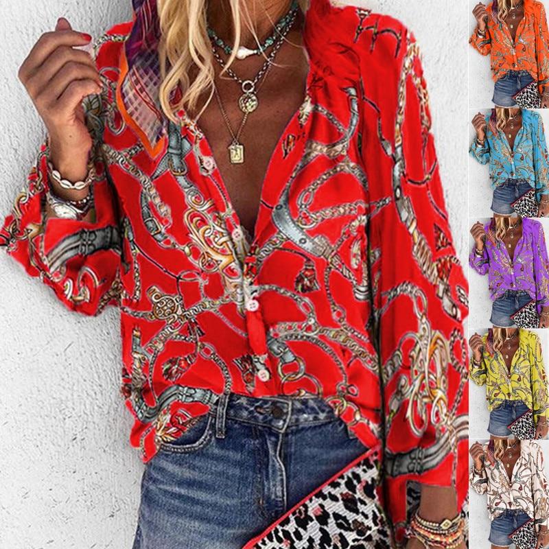 5XL Chains Print Blouses Woman Sexy V-Neck Button Long Sleeve Shirt 2019 Womens Elegant Autumn New Tops Blouse Plus Size