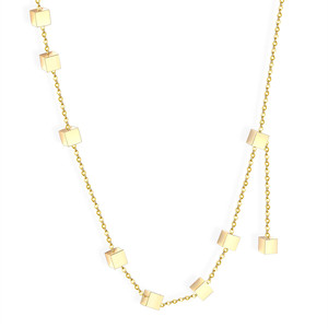 LUXUKISSKIDS Jewelry Necklace For Women Collares de moda 2019 Square Pendants Necklaces Choker Gold 45-5cm Link Chains Necklace(China)