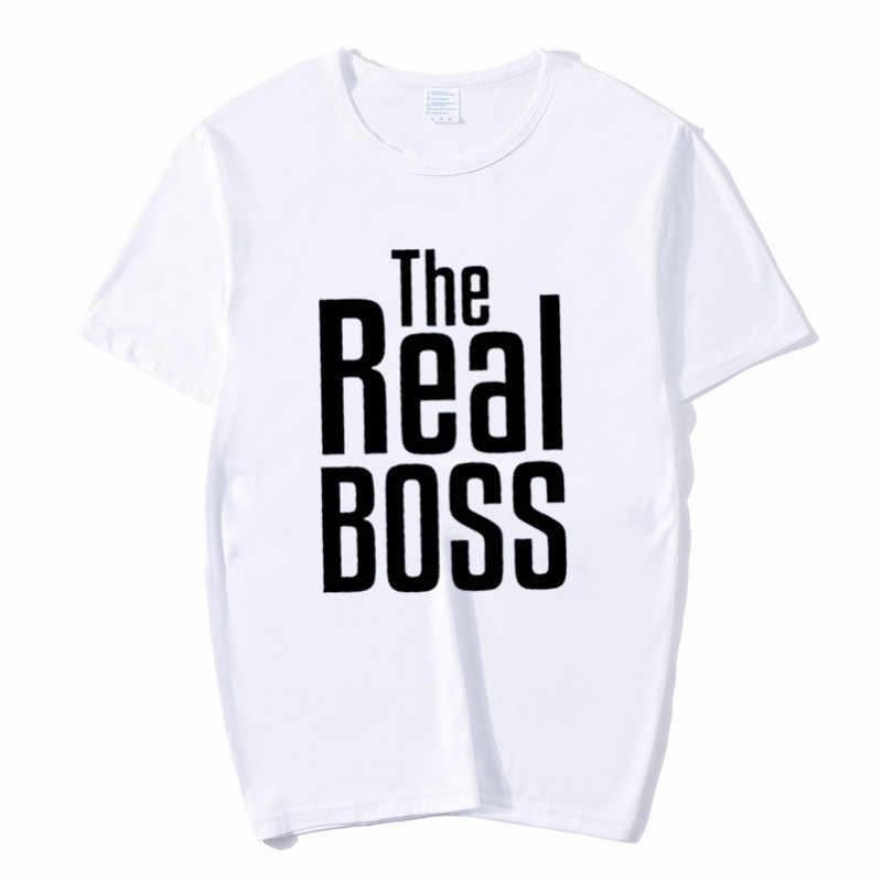De Baas De Echte Boss Koppels T-shirt Mannen Vrouwen Valentine Kleding Man Vrouw Familie Bijpassende Shirts Vriendje Vriendin Gift