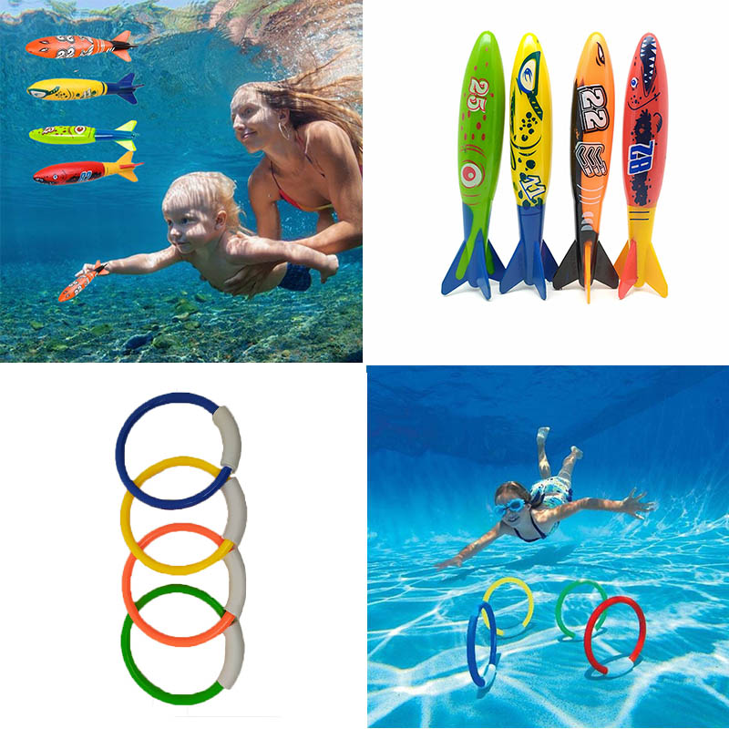 4Pc/set Rocket Throwing Toys Pool Game Toy Seaweed Grass Diving Circle Swimming Pool Summer Beach Toys For Children