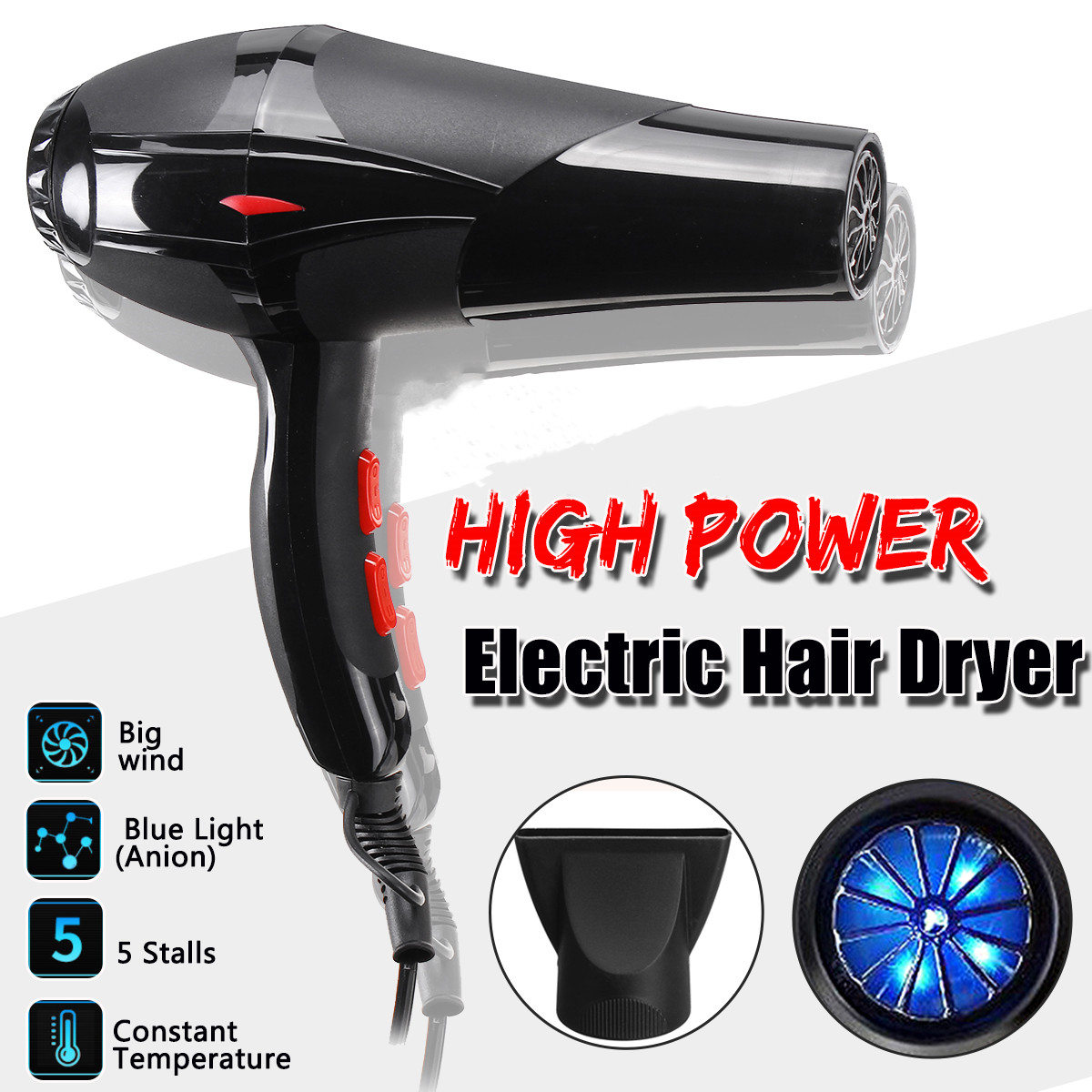 New Becornce 800W Powerful Hair Dryer For Anion Hairdressing Barber Salon Tool Blow Dryer Low Hairdryer Hair Dryer Fan 220V