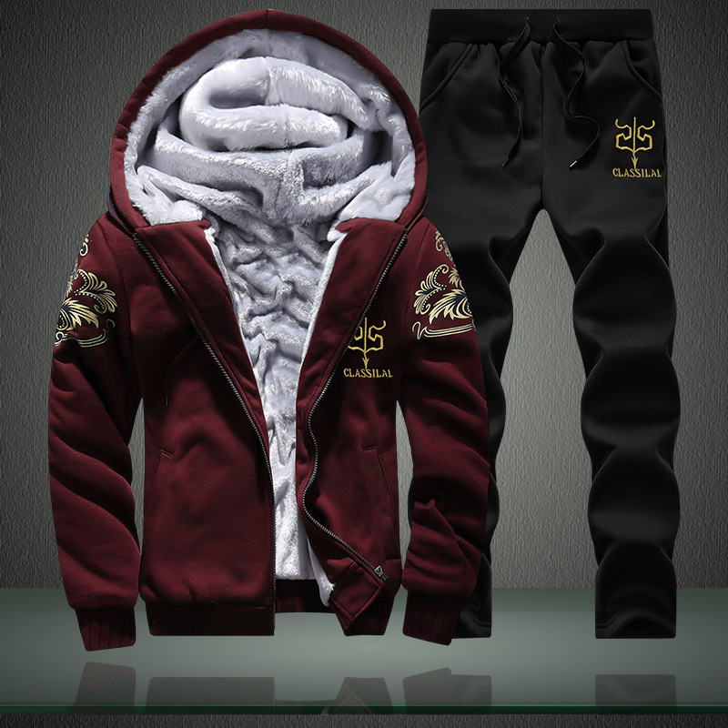 Winter Brushed And Thick Set Men Leisure Sports Suit Teenager Korean-style Hooded Trend Hoodie Suit Men's