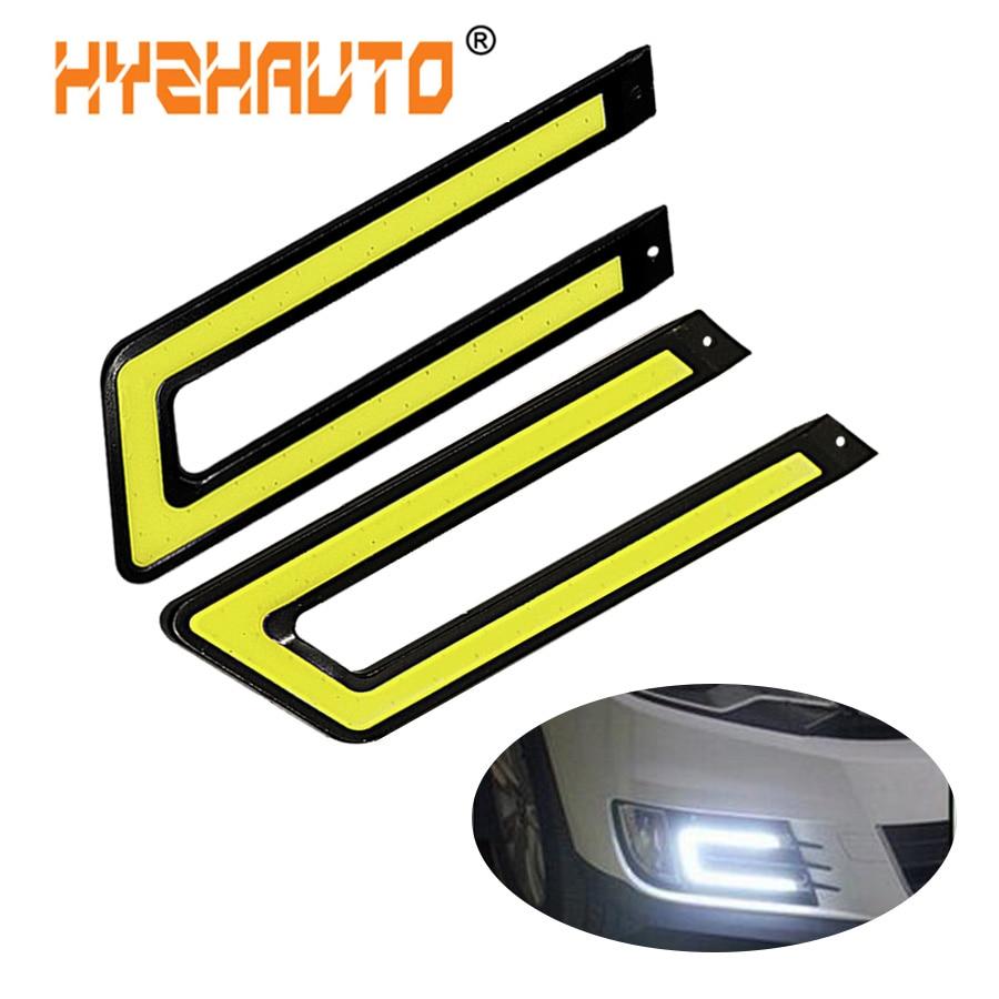 HYZHAUTO 2 шт. U-образный COB дневные ходовые огни DRL Автомобильные светодиодные передние противотуманные фары белый 12 В постоянного тока источник...