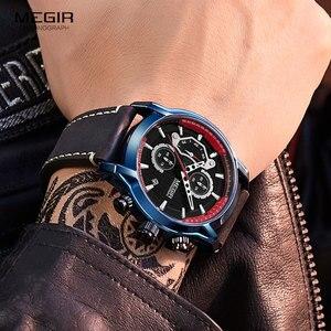 Image 5 - MEGIR lüks Chronograph kuvars saatler erkekler üst marka deri kol saati adam su geçirmez ışık askeri spor İzle saat 2104