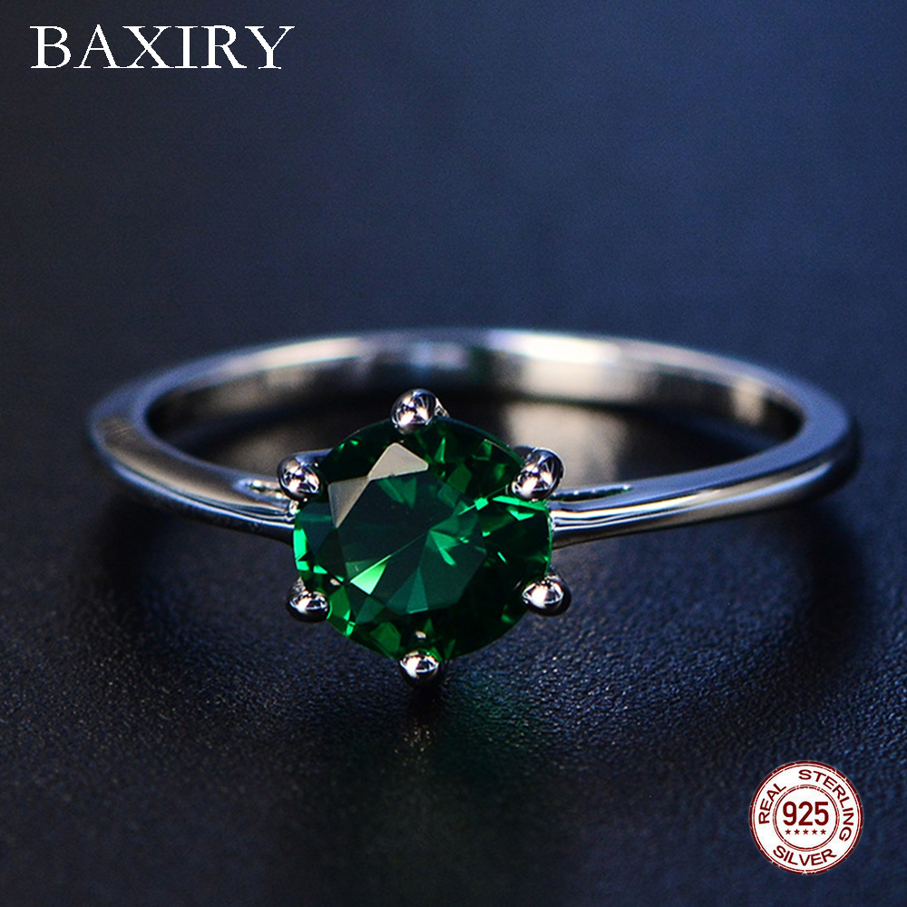 2019 Fine Trendy Engagement Emerald Ring Silver 925 Jewelry Amethyst Gemstone Ring Silver Cocktaill Blue Sapphire Ring For Women