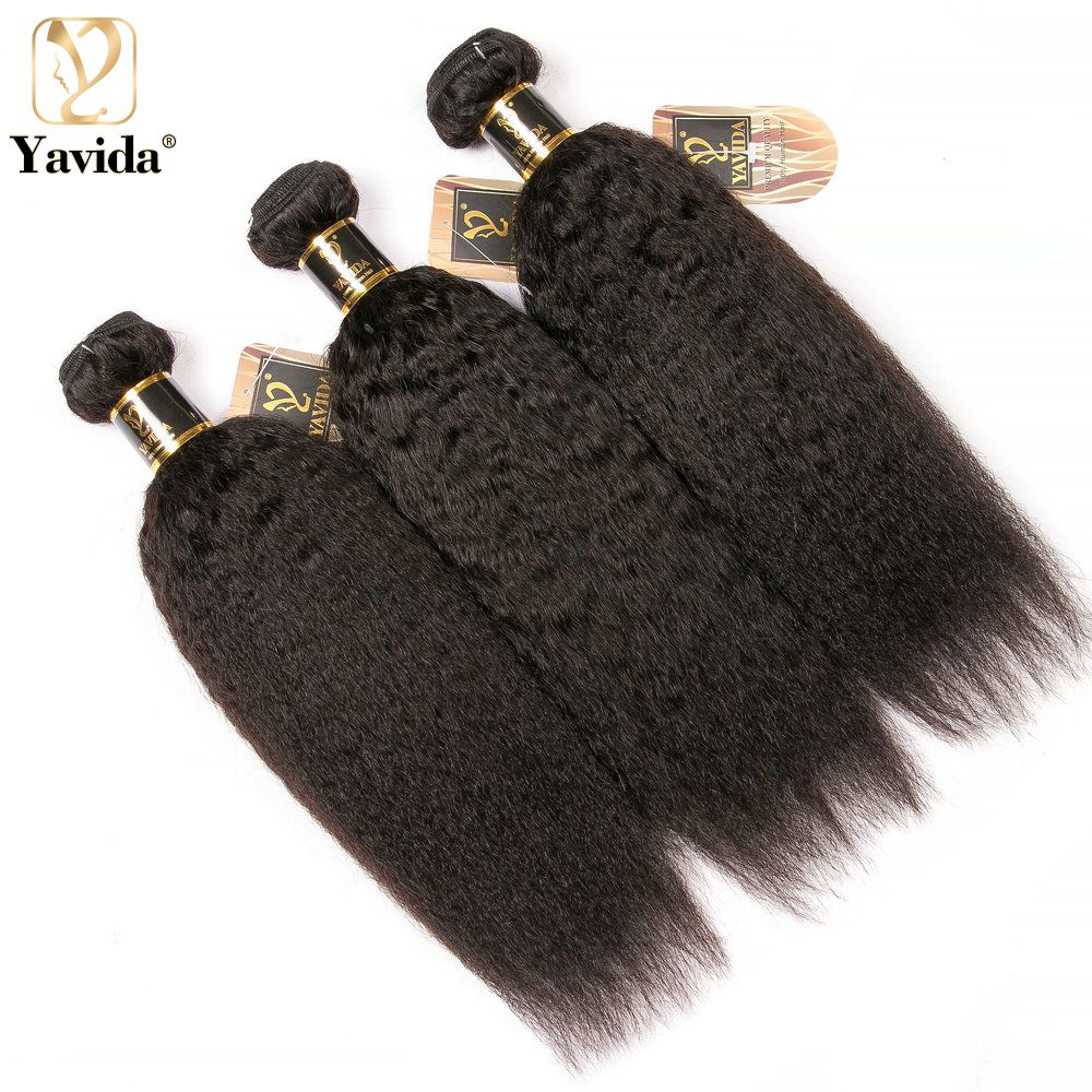 Yavida бразильские курчавые прямые человеческие волосы, пряди, необработанные прямые Yaki 1/3/4 пучков, человеческие волосы для наращивания