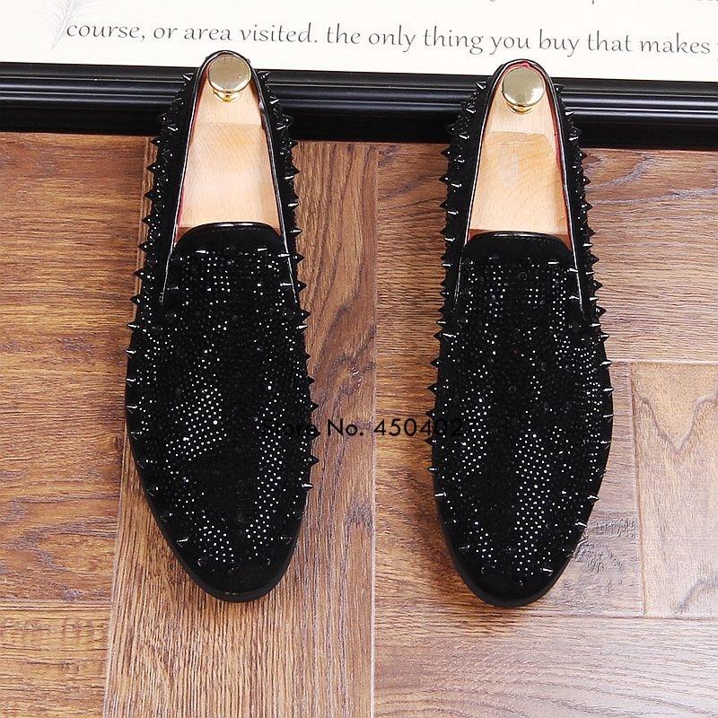 Zapatos de vestir negros con diamantes de imitación para hombre, mocasines de lujo de cristal, mocasines de oficina, calzado de hombre de negocios - 5