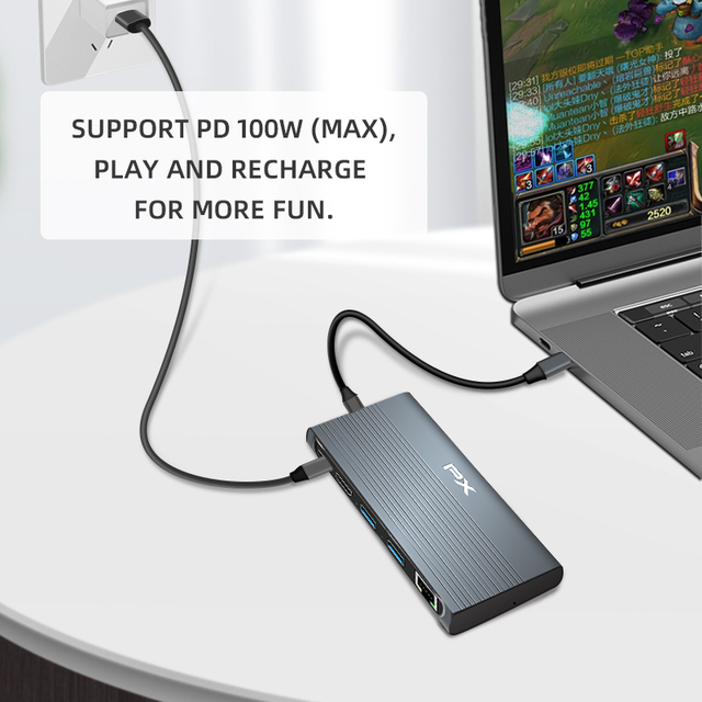 PX USB Type C to Rj45 LAN Adapter Hdmi USB 3.1 Hub M.2 NVME NGFF Hard Drive Enclosure PD Charge for Macbook SSD Case Type-C Hub